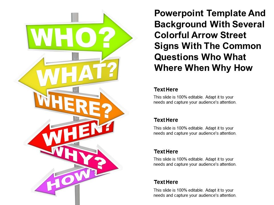 Template With Several Colorful Arrow Street Signs With Common Questions Who What Where When Why How