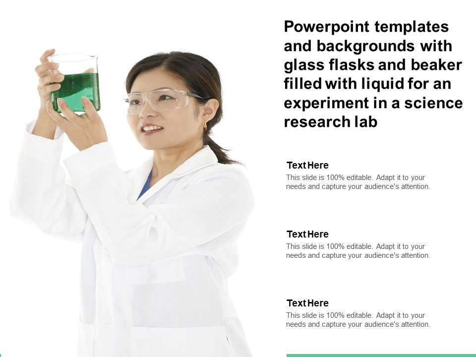 Templates With Glass Flasks Beaker Filled With Liquid For An Experiment In A Science Research Lab