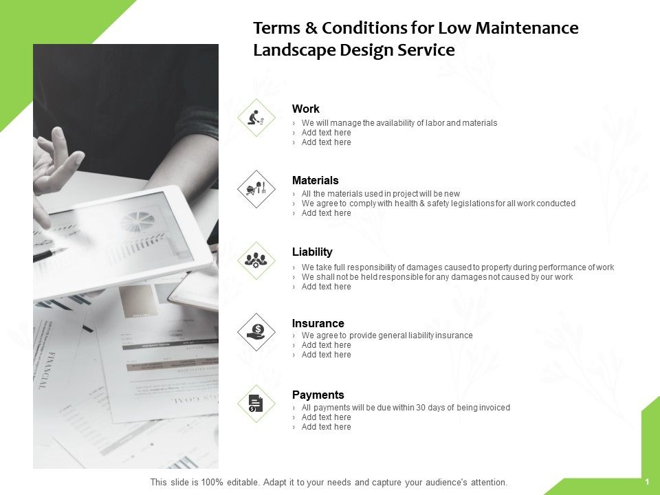 Terms And Conditions For Low Maintenance Landscape Design Service