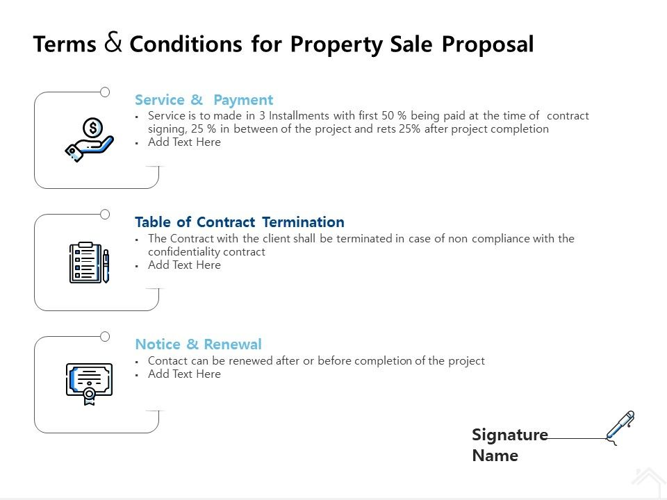 Terms And Conditions For Property Sale Proposal Ppt Powerpoint Show Deck