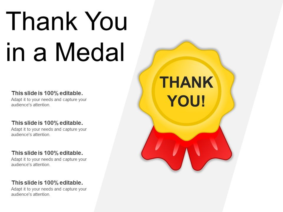 Thank You In A Medal Powerpoint Templates Backgrounds Template