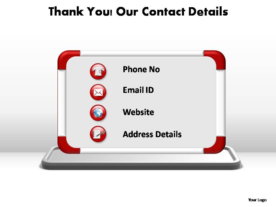 Thank You Our Contact Details Editable Powerpoint Templates
