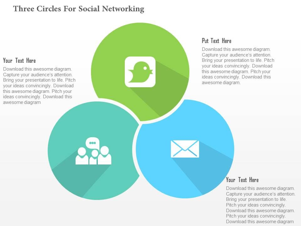 three_circles_for_social_networking_flat_powerpoint_design_Slide01