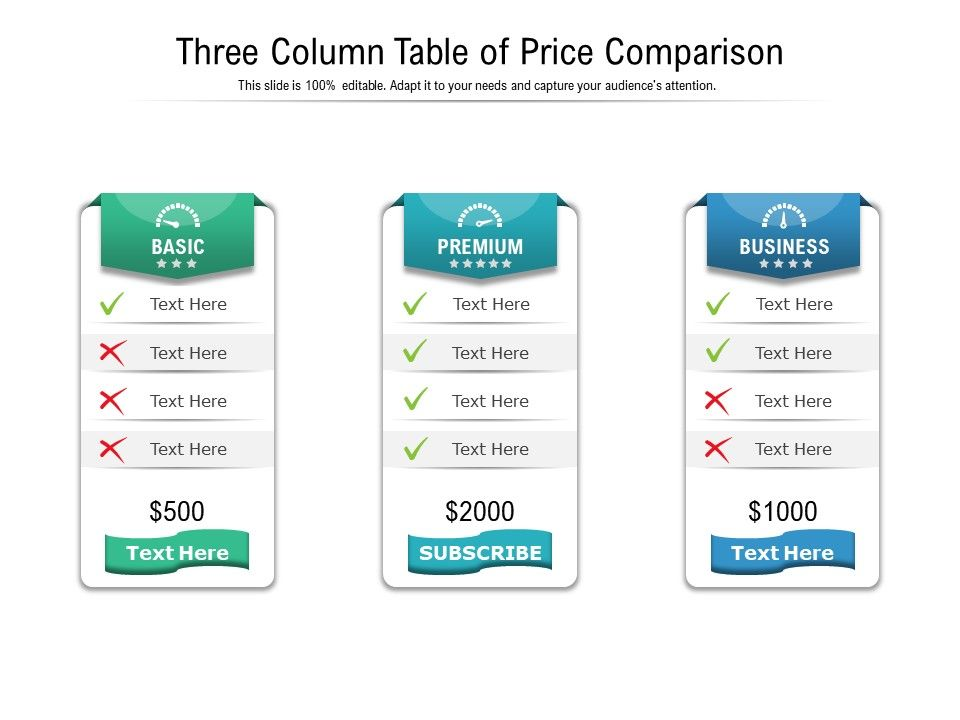 Three Column Table Of Price Comparison