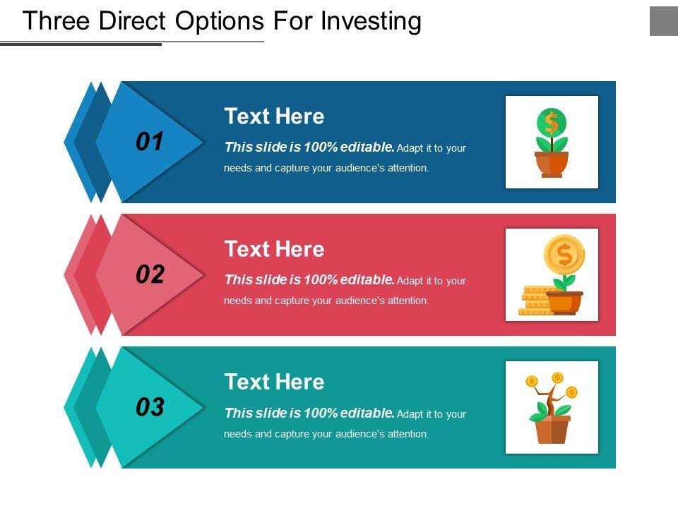 three_direct_options_for_investing_ppt_design_Slide01