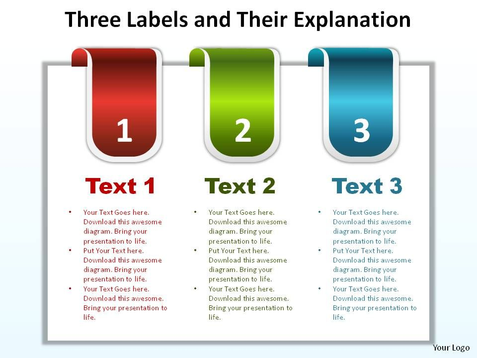 three labels reb blue green with tabs and their explanation ppt, Presentation templates