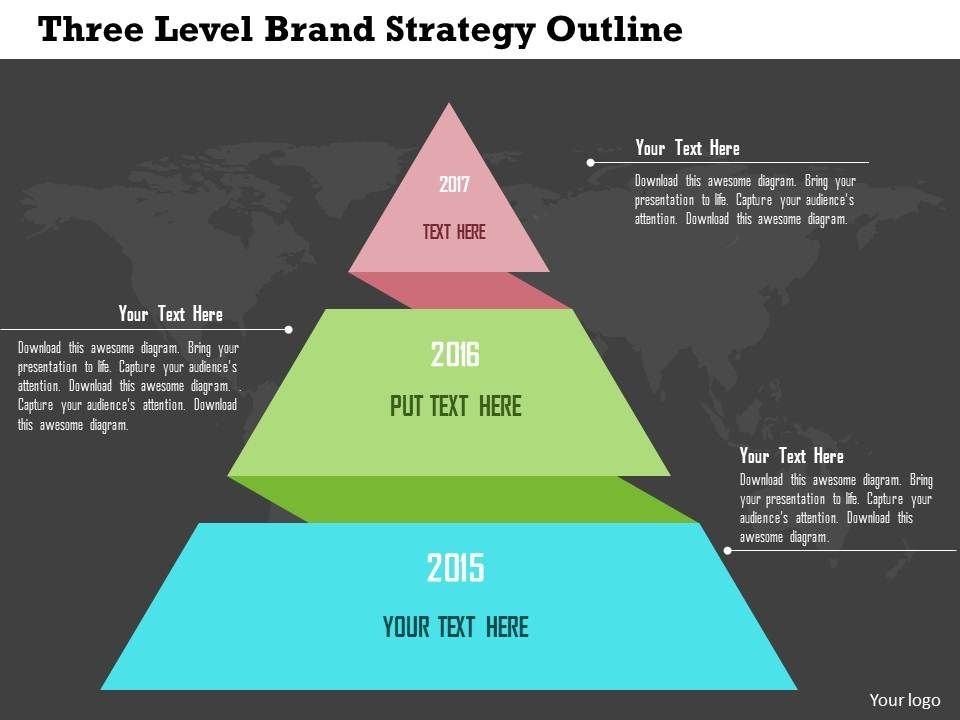 three_level_brand_strategy_outline_flat_powerpoint_design_Slide01