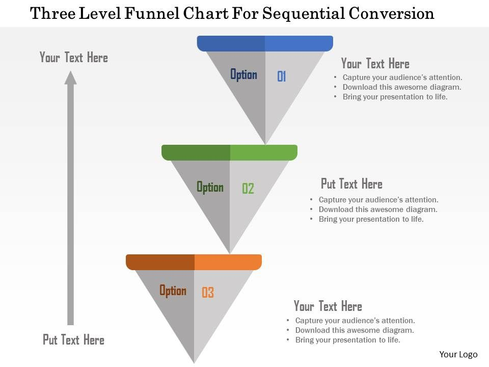 Three level funnel chart for sequential conversion flat powerpoint threelevelfunnelchartforsequentialconversionflatpowerpointdesignslide01 ccuart Gallery