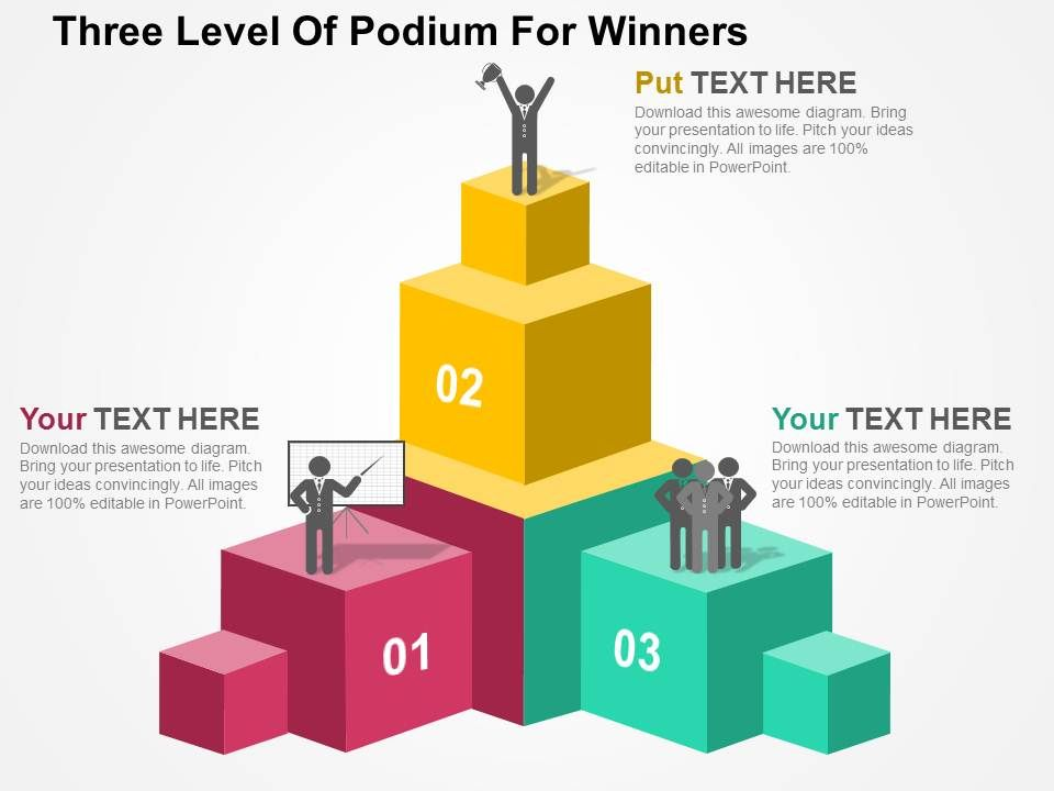 three level of podium for winners flat powerpoint design, Presentation templates