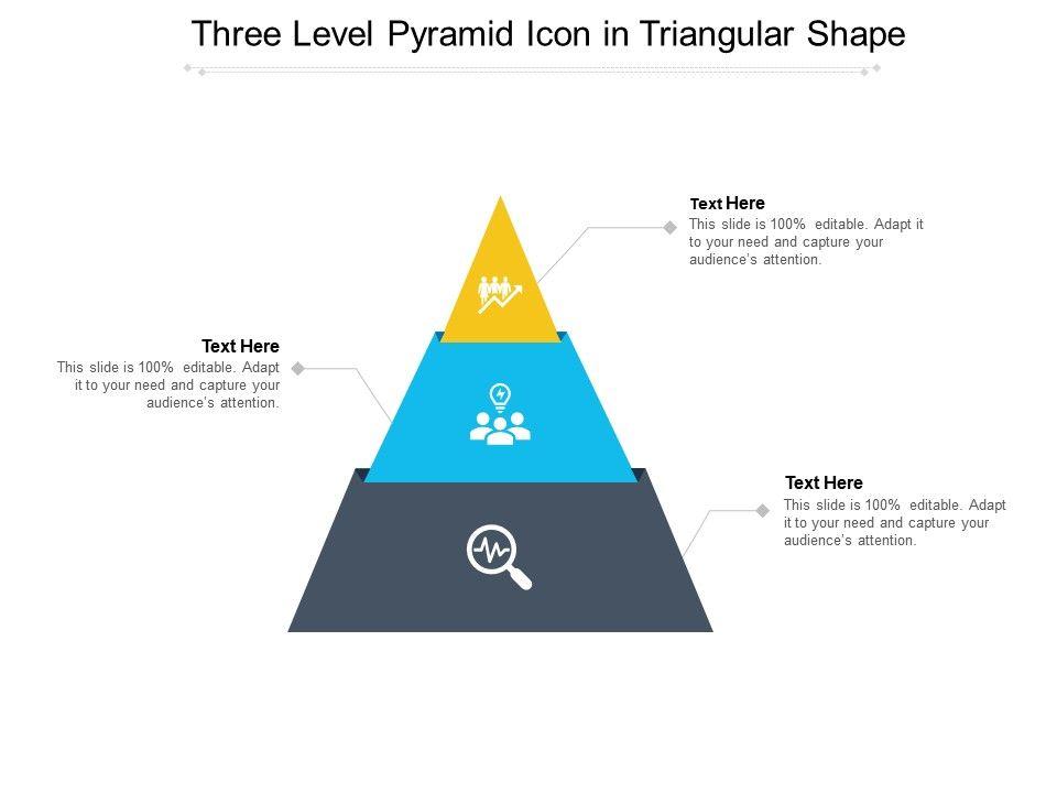 Three Level Pyramid Icon In Triangular Shape