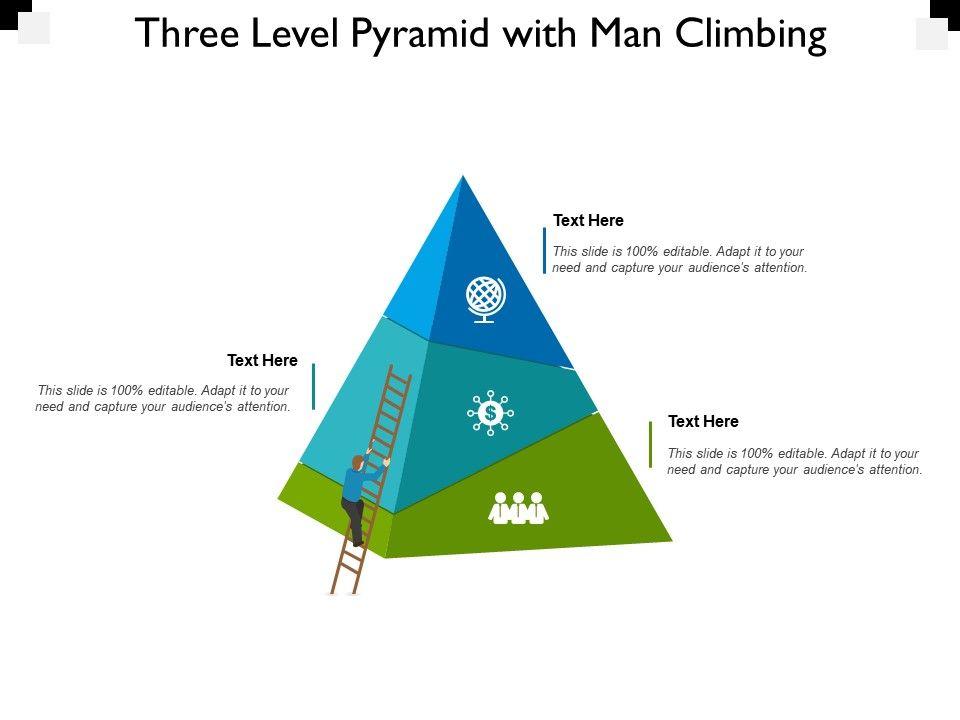 Three Level Pyramid With Man Climbing