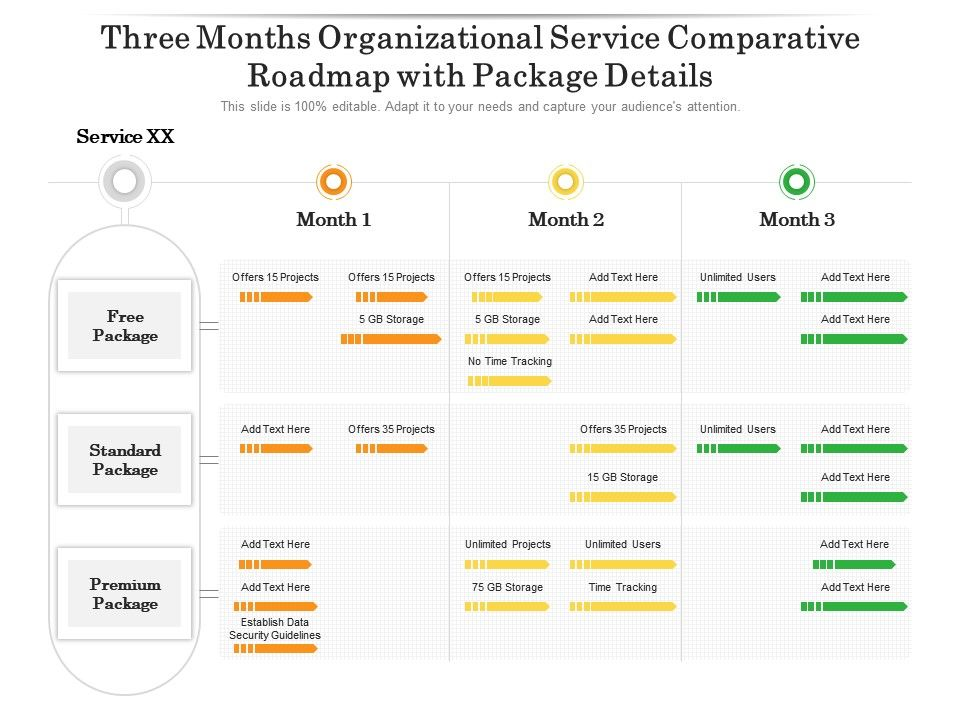 Three Months Organizational Service Comparative Roadmap With Package Details