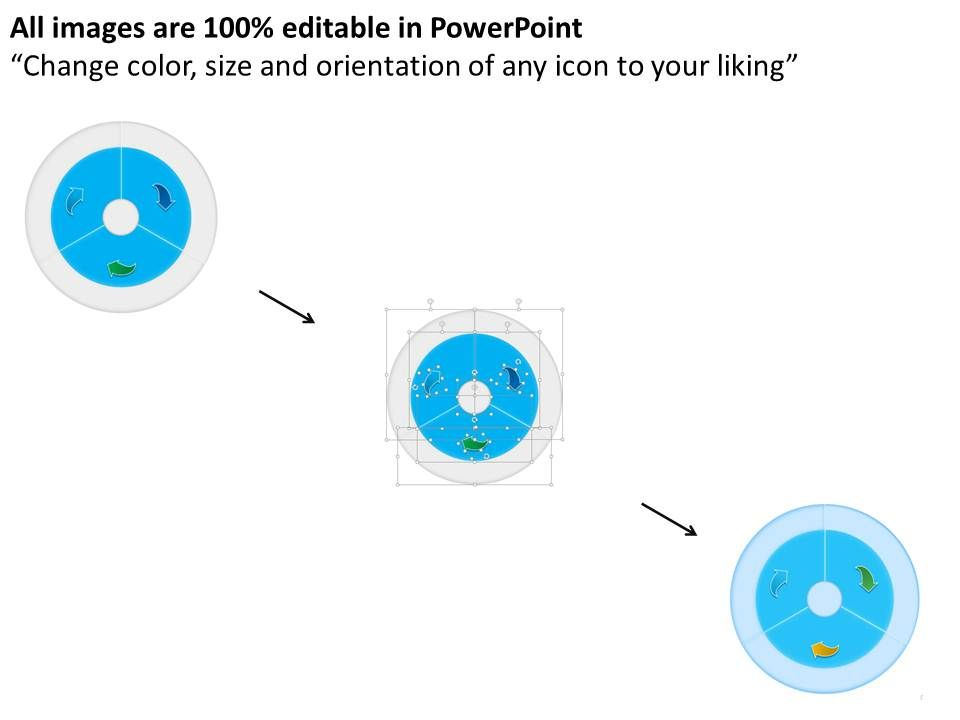 three segment ibm big data analysis circle ppt slides   powerpoint, Presentation templates