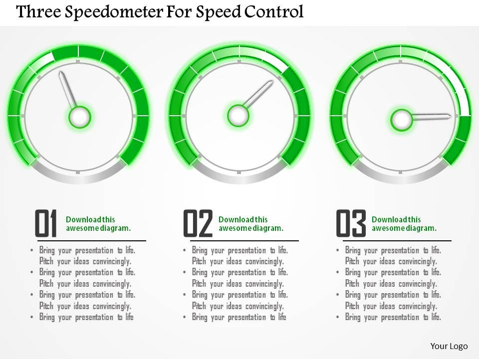 Three Speedometer For Speed Control Powerpoint Template Powerpoint