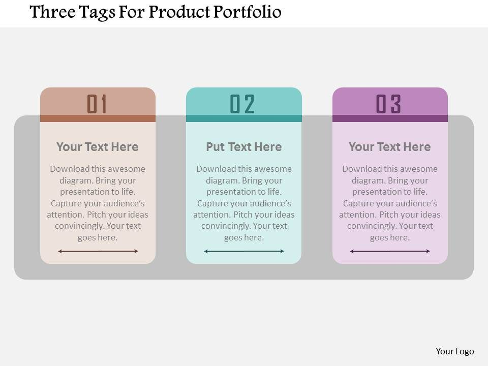 three tags for product portfolio flat powerpoint design, Presentation templates