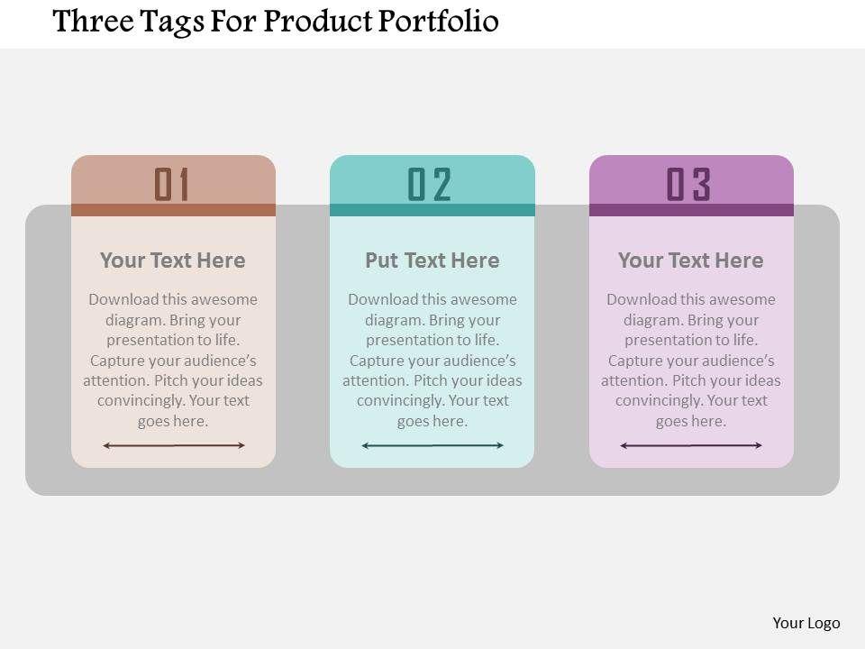 three tags for product portfolio flat powerpoint design, Presentation templates