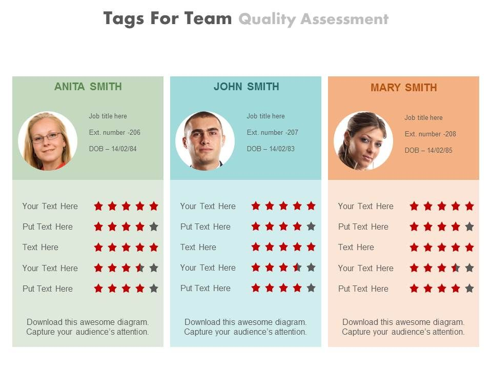 three_tags_for_team_quality_assessment_powerpoint_slides_Slide01