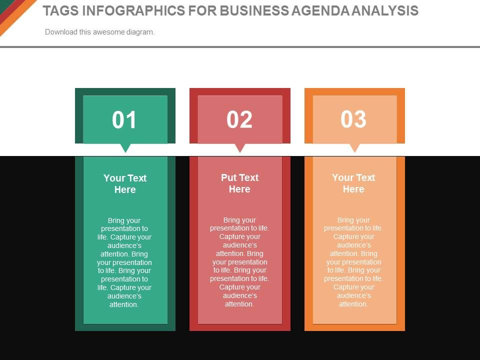 three_tags_infographics_for_business_agenda_analysis_powerpoint_slides_Slide01
