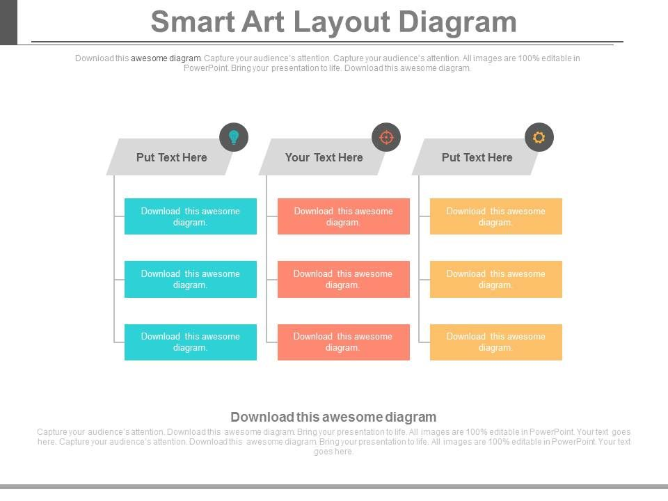 Three Tags Smart Art Layout Diagram Flat Powerpoint Design