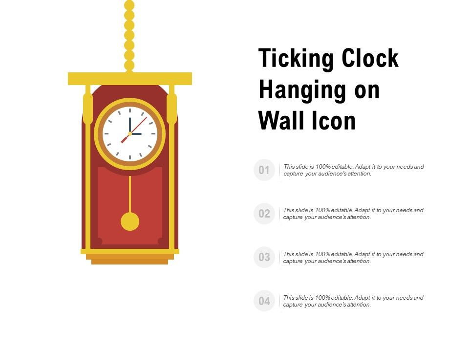 Ticking Clock Hanging On Wall Icon
