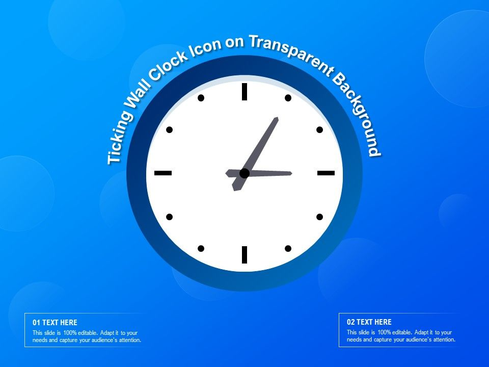 Ticking Wall Clock Icon On Transparent Background
