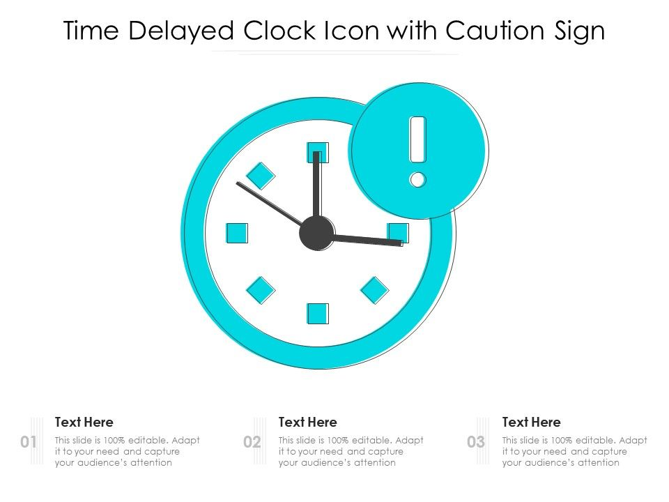 Time Delayed Clock Icon With Caution Sign
