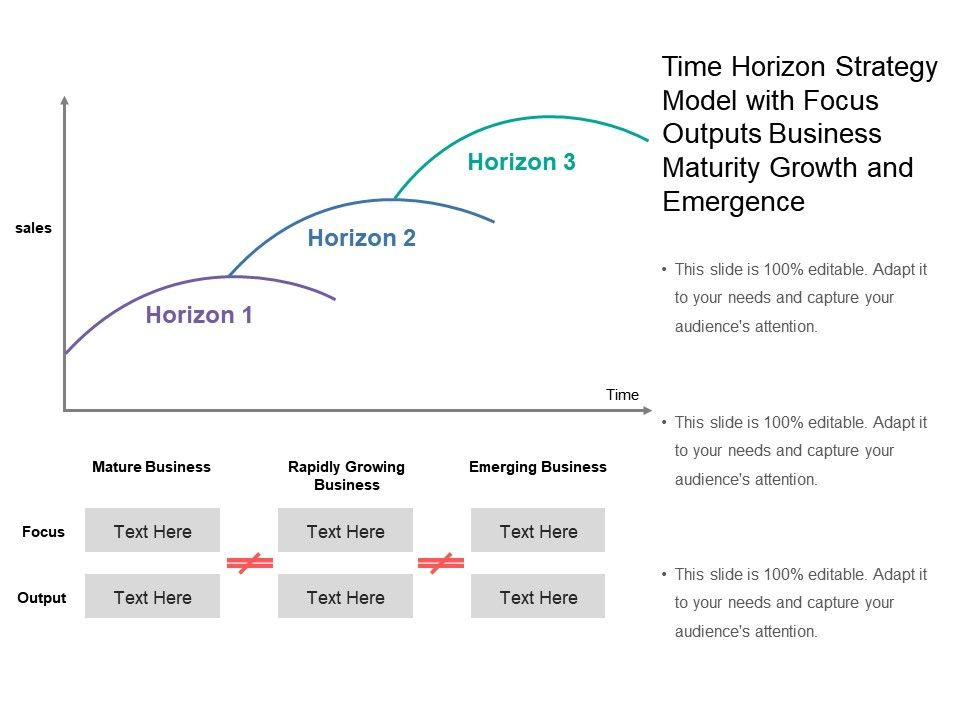 time_horizon_strategy_model_with_focus_outputs_business_maturity_growth_and_emergence_Slide01