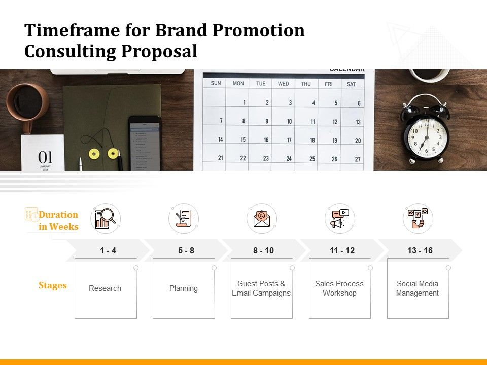 Timeframe For Brand Promotion Consulting Proposal Ppt Powerpoint Presentation Outline Portrait