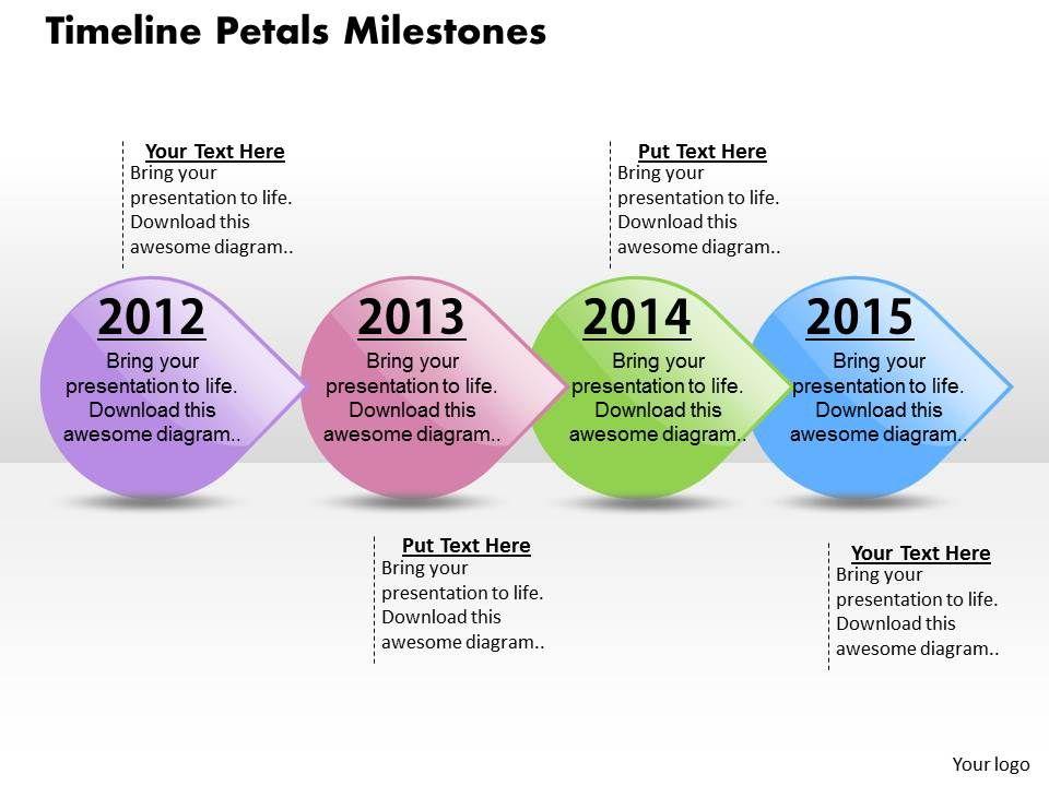 Timeline Petals Milestones Powerpoint Template Slide ...