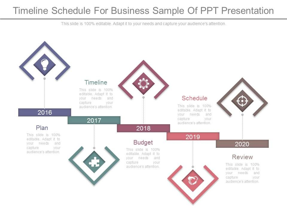 timeline schedule for business sample of ppt presentation