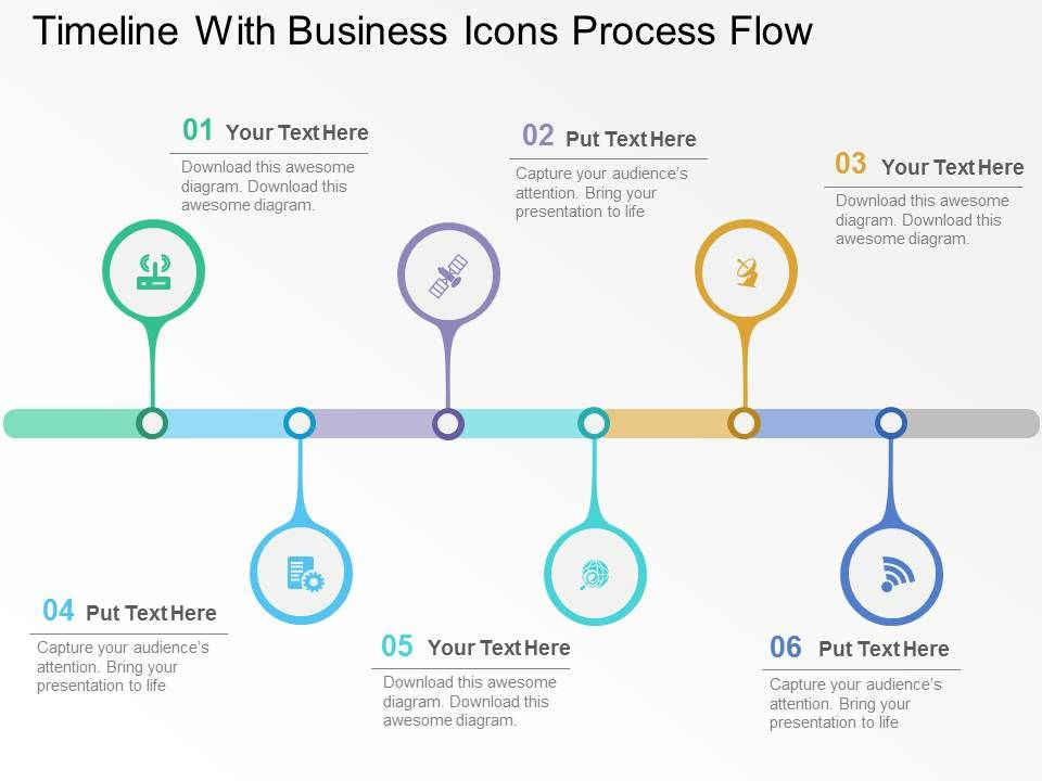 timeline with business icons process flow flat powerpoint design rh slideteam net Flow Map Flow Chart