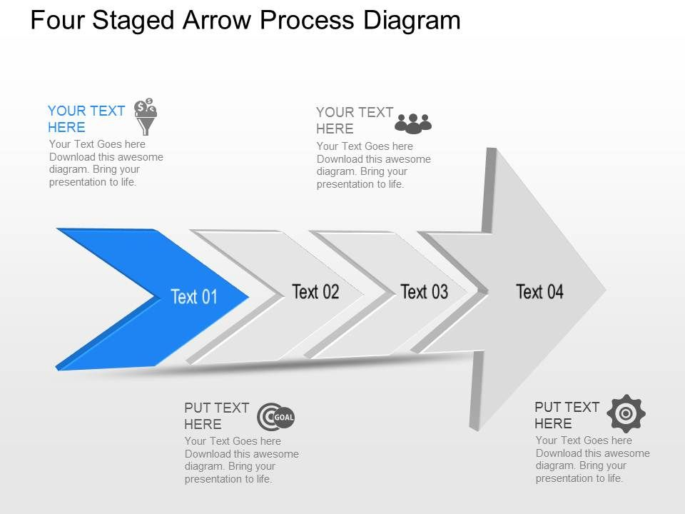 tk four staged arrow process diagram powerpoint template slide, Presentation templates
