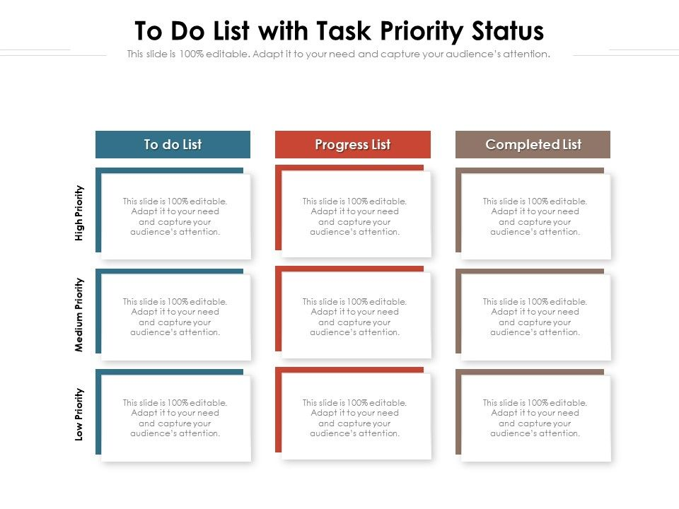 To Do List With Task Priority Status