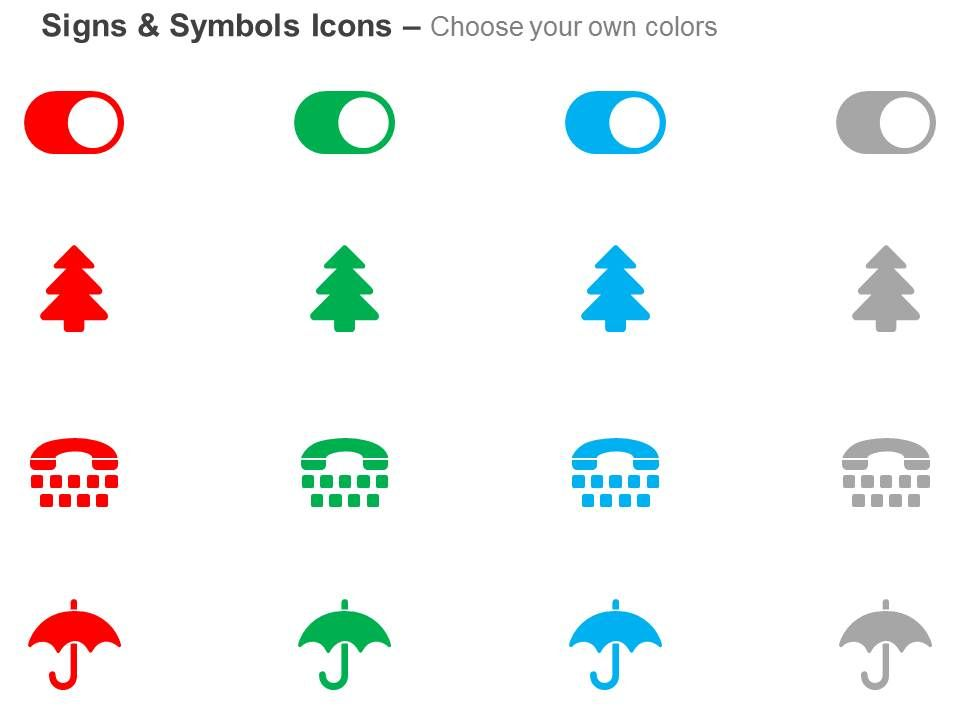 Toggle On Tree Umbrella Calling Phone Ppt Icons Graphics