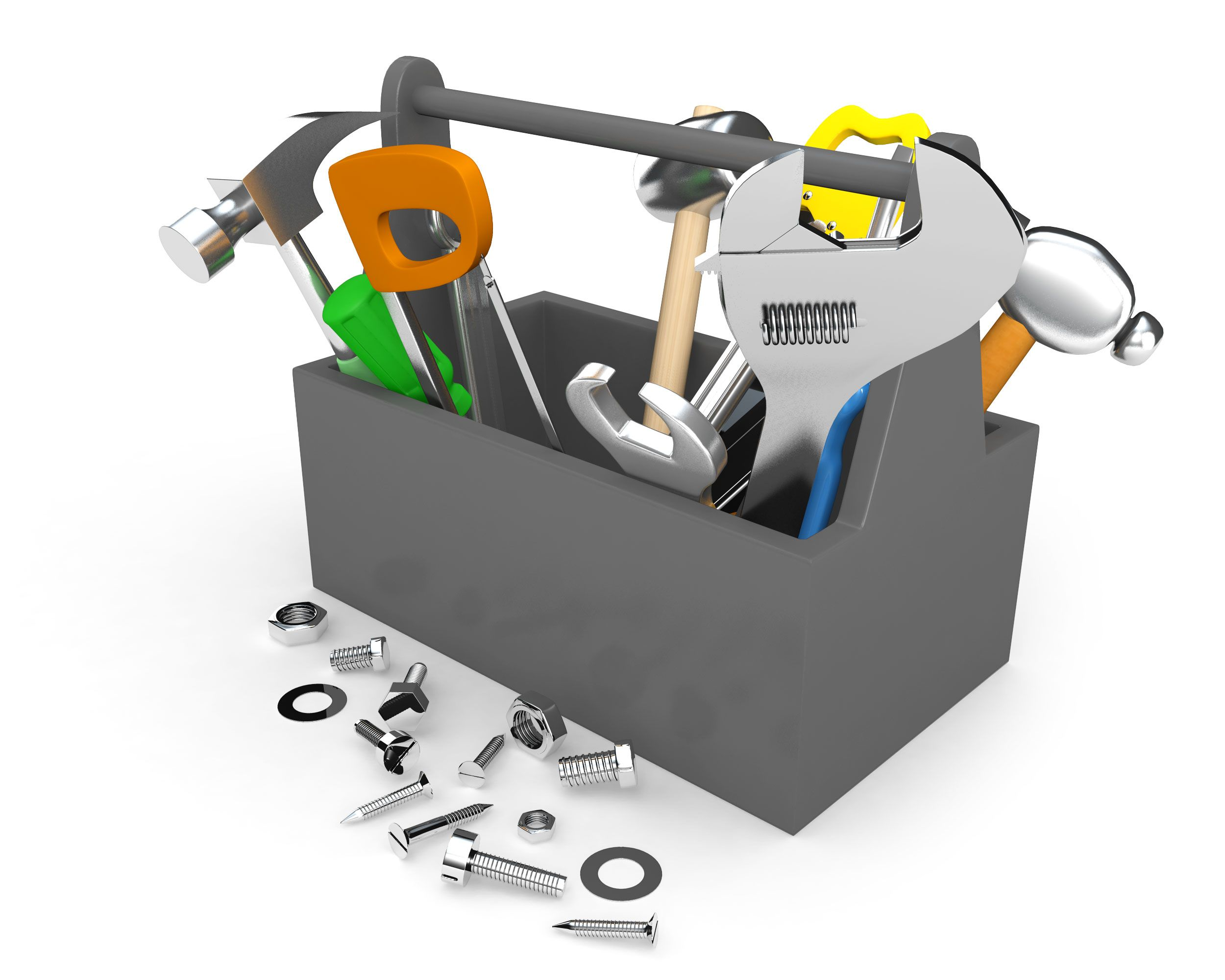 tool_box_with_hammer_wrench_spanner_with_nut_bolts_kit_stock_photo_Slide01