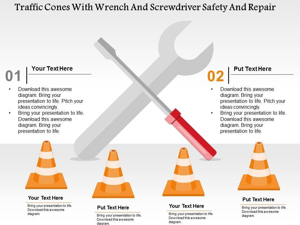 Traffic Cones With Wrench And Screwdriver Safety And Repair Flat ...