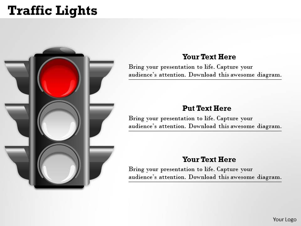 traffic lights powerpoint template slide | graphics presentation, Presentation templates
