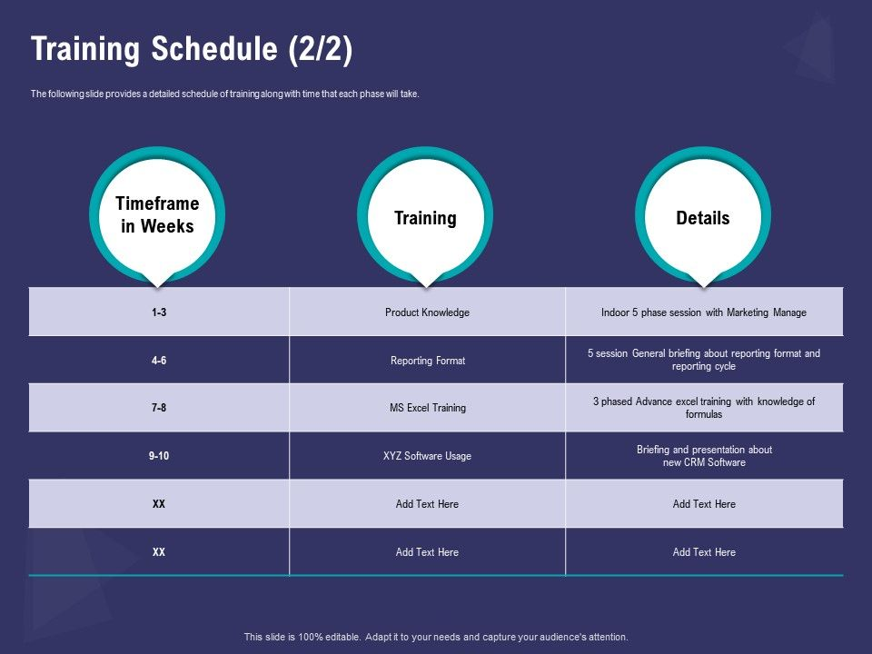 Training Schedule Excel Format Ppt Powerpoint Presentation Portfolio