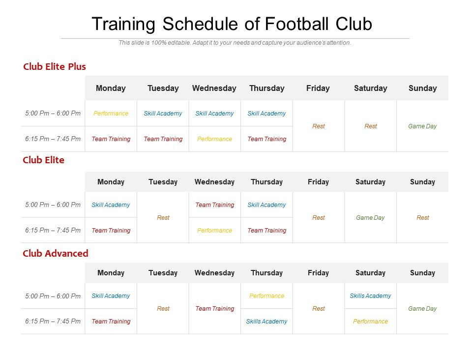 Training Schedule Of Football Club