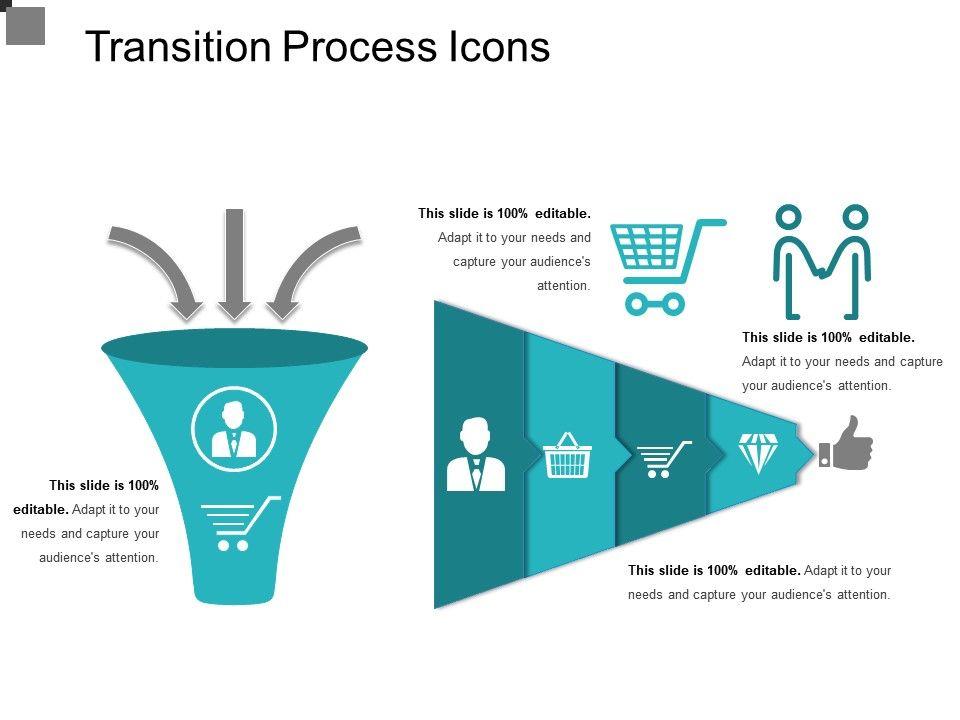 transition process icons powerpoint presentation slides. Black Bedroom Furniture Sets. Home Design Ideas