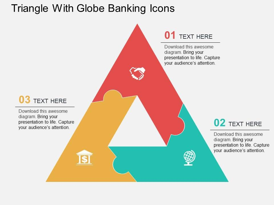 Triangle With Globe Banking Icons Flat Powerpoint Design