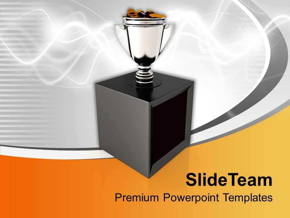 trophy cup full of coins on stylish background powerpoint templates ppt themes and graphics 0113. Black Bedroom Furniture Sets. Home Design Ideas