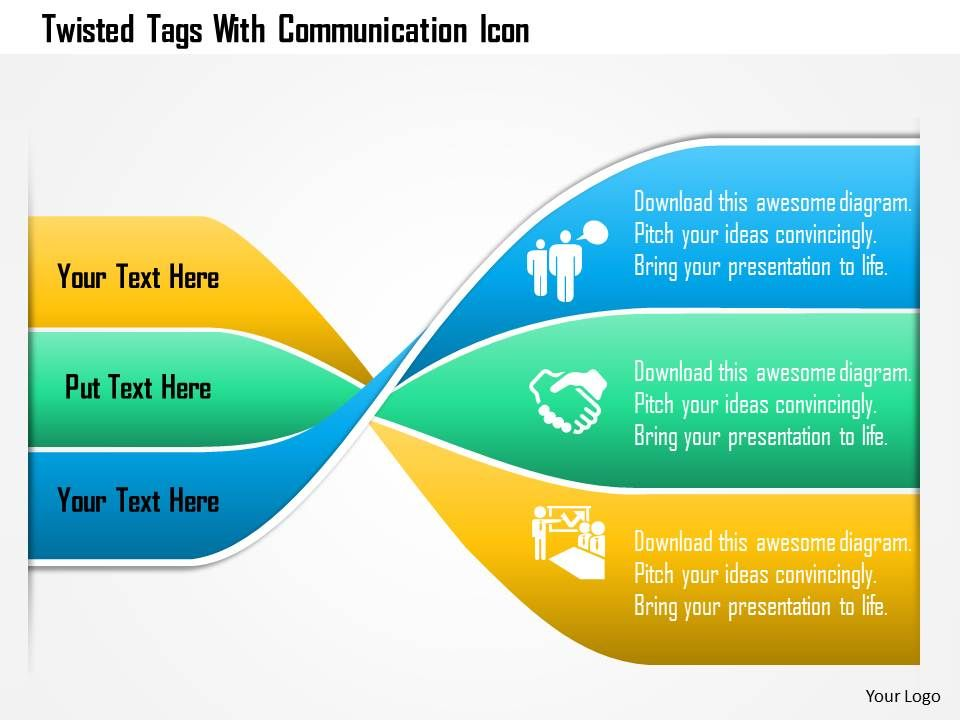 twisted_tags_with_communication_icon_powerpoint_template_Slide01