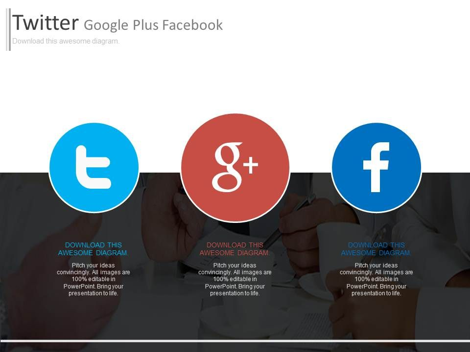 twitter google plus facebook digital marketing plateforms, Modern powerpoint