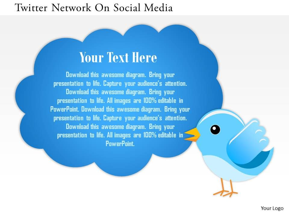 twitter network on social media powerpoint template powerpoint