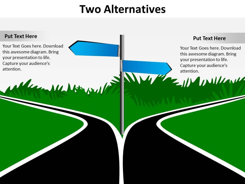 two alternatives road signs diverging to opposite directions to, Powerpoint templates