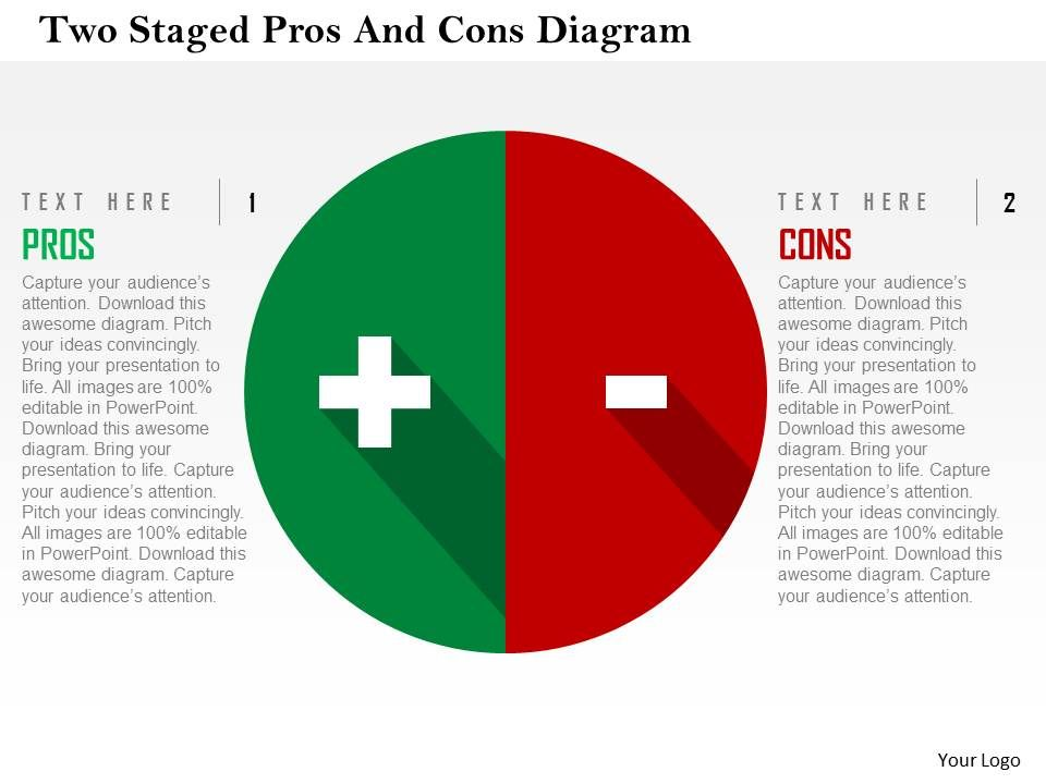 two_staged_pros_and_cons_diagram_flat_powerpoint_design_Slide01