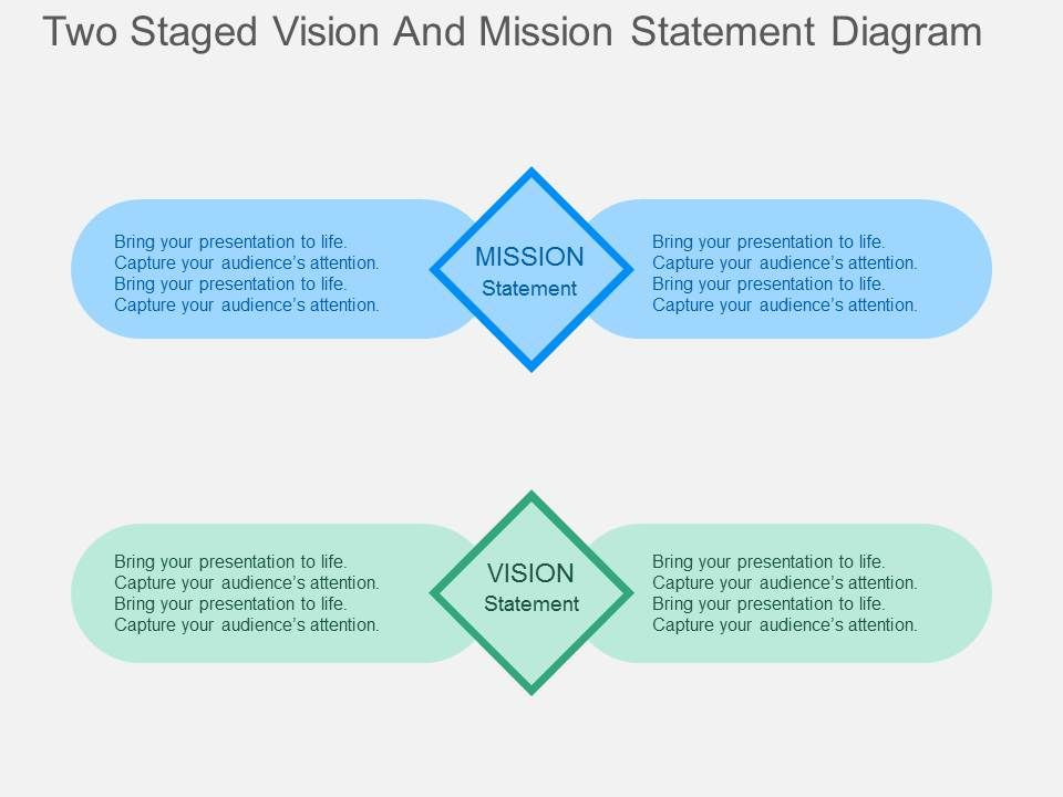 Two staged vision and mission statement diagram flat powerpoint twostagedvisionandmissionstatementdiagramflatpowerpointdesignslide01 toneelgroepblik Choice Image