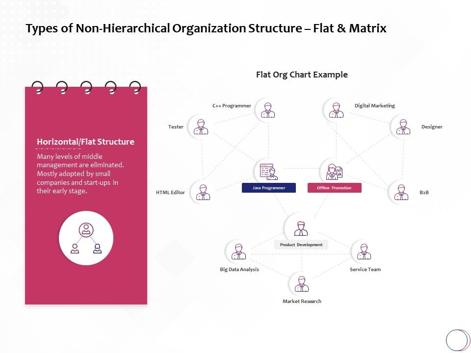 Types Of Non Hierarchical Organization Structure Flat And Matrix Ppt Powerpoint Layouts