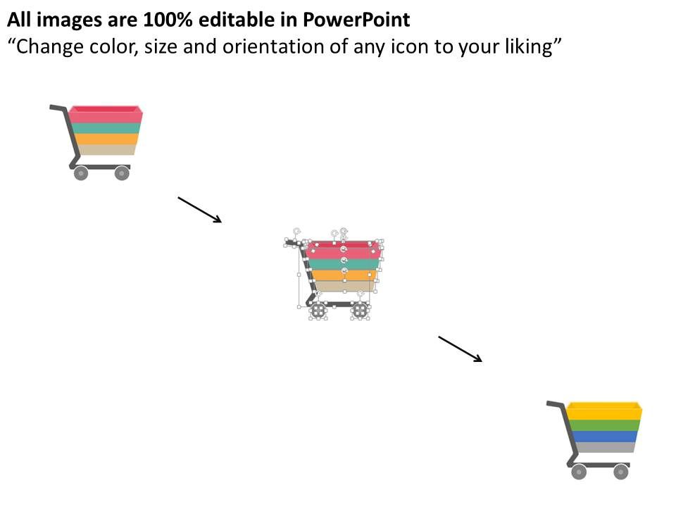 ub four tags in shopping cart design flat powerpoint design, Presentation templates